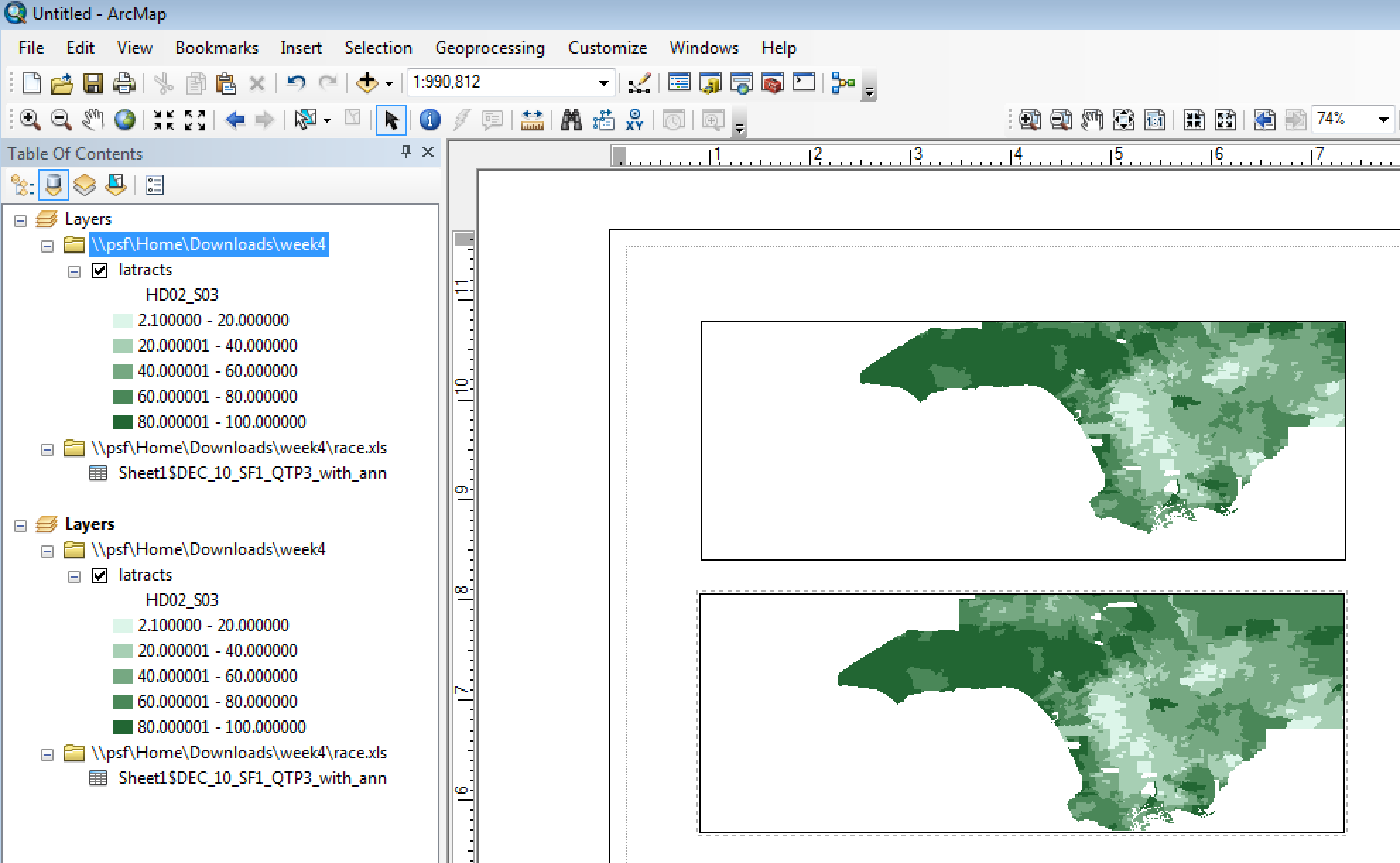 How to create multiple synced data frames in ArcMap